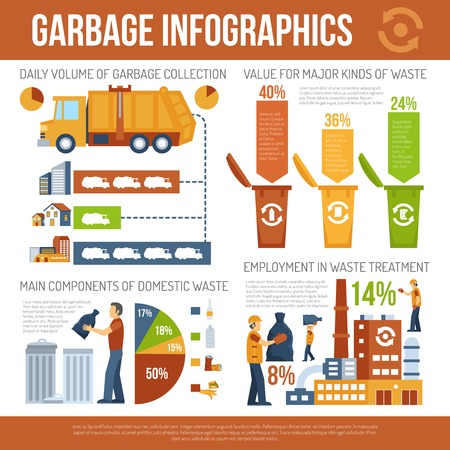 garbage bag: Infographics presentation about garbage collection and waste processing vector illustration