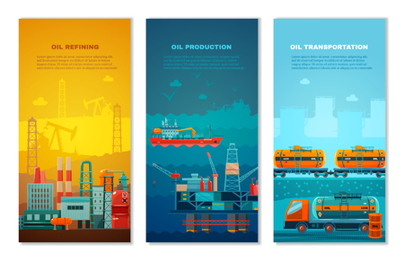 extracting: Petroleum industry vertical banners set with manufacture extracting platform truck and cisterns at railway isolated vector illustration