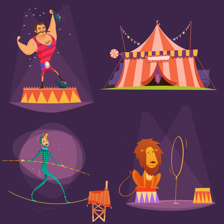 performers: Circus retro cartoon icon set with lion tent actor gymnast vector illustration