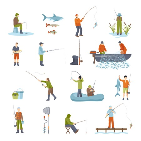 freetime: Colorful different ways fishing people fish accessory and tools for fishing isolated icons set on white background vector illustration Illustration