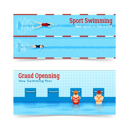 grand sale sticker: Two horizontal banners set of best sport swimming and grand openning of new swimming pool isolated flat vector illustration