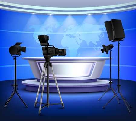 Realistic blue news studio interior with table on pedestal world map on wall floodlight camera vector illustration Vectores