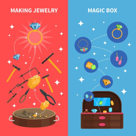 Making jewelry vertical banners set with magic jewel box flat isolated vector illustration
