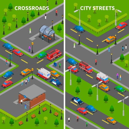 underpass: Street traffic isometric vertical banners set with crossroads underpass bus stop pedestrians trucks and cars vector illustration