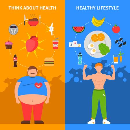 Dieta banners planas verticais com gordo jovem ícones de estilo de vida saudável de atleta e junk food conjunto ilustração vetorial
