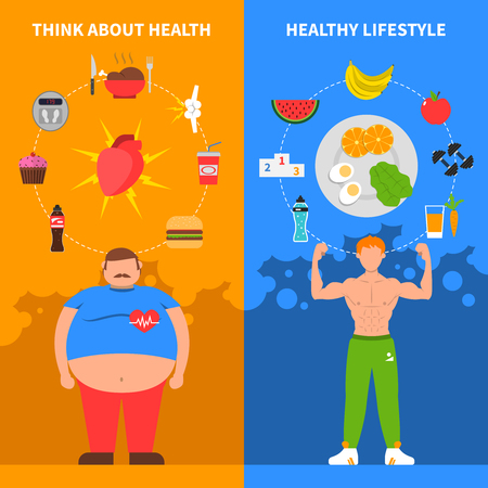 Diet vertical flat banners with fat man young athlete healthy lifestyle icons and junk food set vector illustration