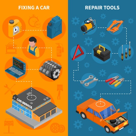 fixing: Car service isometric vertical banner set with  fixing car process and repair tools kit vector illustration