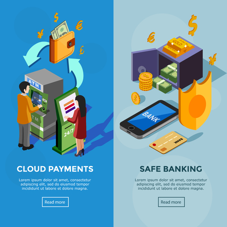 terminal: Isometric vertical bank banners with safe banking icons and cloud payments concept with people near terminal vector illustration