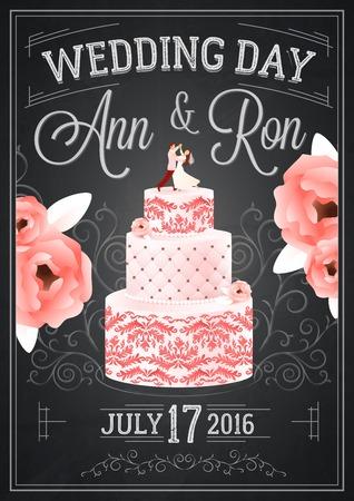 pareja comiendo: Boda cartel día pizarra con las flores de la fecha y la ilustración vectorial torta plana