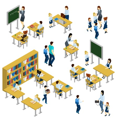 School isometric set with teacher children and school equipment isolated vector illustration