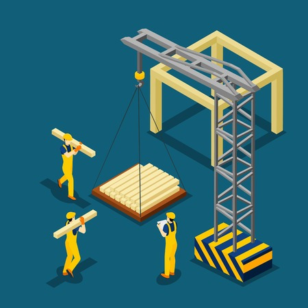 beginning: Construction project beginning with wooden frame isometric banner builders and crane at work abstract vector illustration