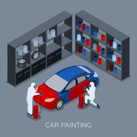 Processo di verniciatura professionale auto dal garage di servizio auto con vernice spruzzando pistola isometrica banner illustrazione vettoriale astratto