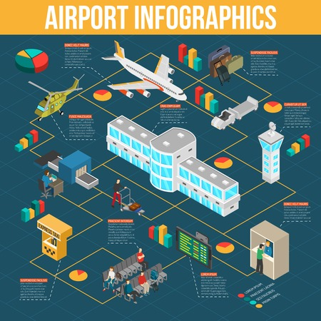 custom: Airport infographics with diagrams and pie charts of airport elements on dark blue background isometric vector illustration