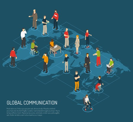 people connected: Isometric poster of people connected to global communication on world map dark blue background vector illustration