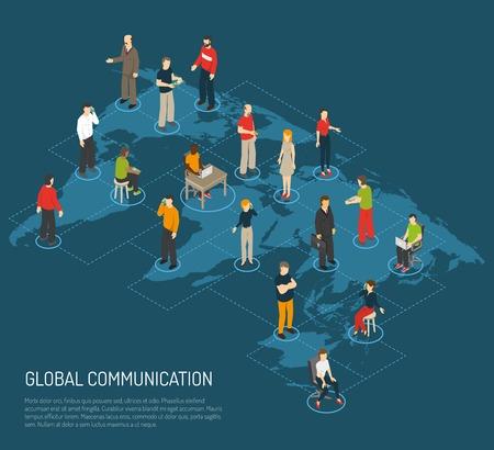 cartel isométrica de personas conectadas a la comunicación global en el mapa del mundo de fondo azul oscuro ilustración vectorial