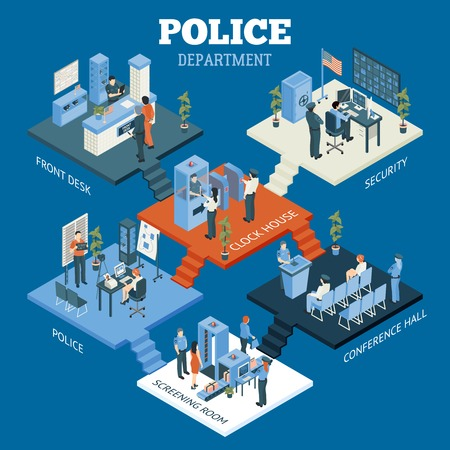 screening: Police department isometric concept with screening room and conference hall symbols on blue background vector illustration