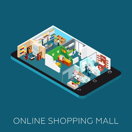 shopping mall: Online shopping mall Isometric icons placed on the smart phone shaped base vector illustration