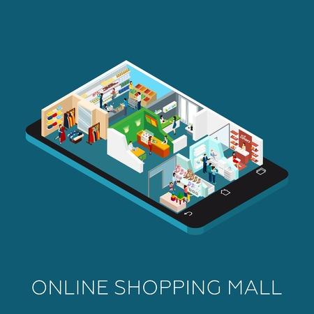 Online shopping mall Isometrische pictogrammen geplaatst op de smartphone vormige basis vector illustratie