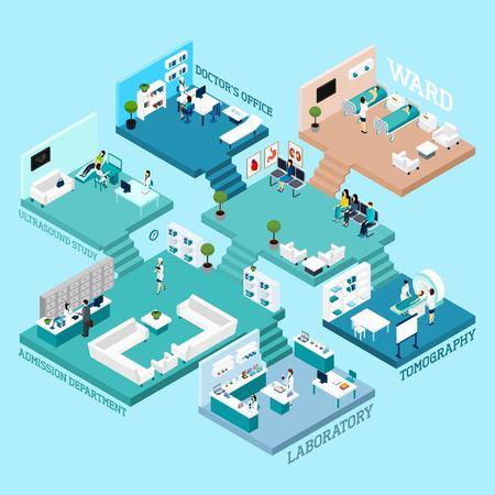 Ziekenhuis iconen Isometrische abstracte regeling met diverse kamers personeel apparatuur en interieur verbonden door trappen vector illustratie