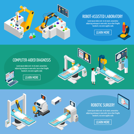 assisted: Robotic surgery banners set of robot assisted laboratory and computer aided diagnostic isometric icons vector illustration