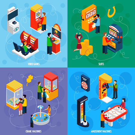 slot machines: Garra de la grúa y juegos de video tragaperras de atracciones 4 iconos isométricos cuadrado abstracto bandera ilustración vectorial