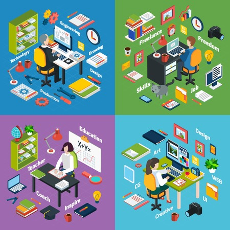engineering icon: Professional workplaces of freelance art designer teacher and engineer 4 isometric icons square composition abstract vector isolated illustration