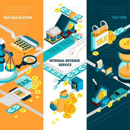 revenue: Tax isometric vertical banners set with internal revenue service symbols isolated vector illustration