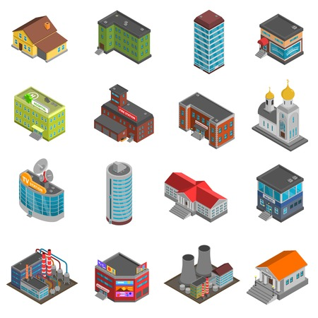 hotel hall: City buildings isometric icons set of colorful houses of different form isolated vector illustration