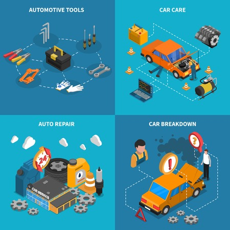 car breakdown: Isometric isolated icon set with different stages of service like car care breakdown vector illustration