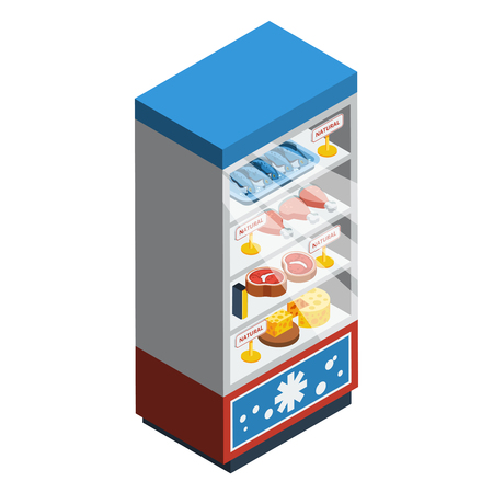 frozen meat: Food collection isometric abstract with fridge full of meat cheese fish and chicken vector illustration