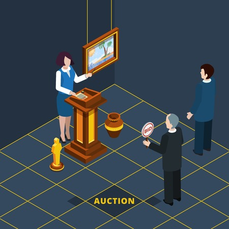 Bid: Isometric auction process abstract with bidding man and female auctioneer vector illustration Illustration