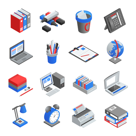 wastepaper basket: Different red blue and grey office tools for workplace isometric icons set isolated vector illustration