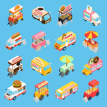 Street food trucks and carts selling hot dogs and wok dishes isometric icons set abstract isolated vector illustration