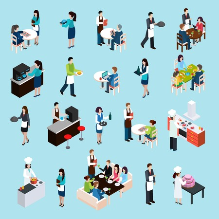 Restaurant cafe bar personnel and customers isometric icons set with waiters attending tables abstract isolated vector illustration