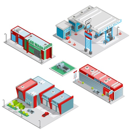 Modern auto service facilities isometric composition with gas station and car wash buildings abstract isolated vector illustration