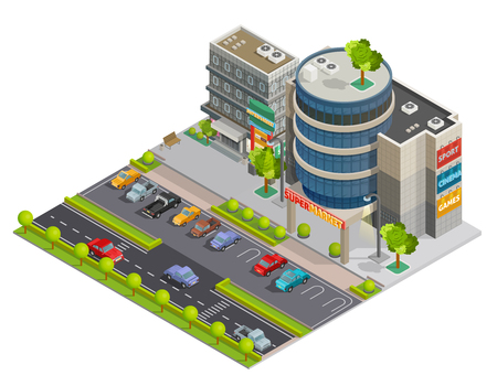 business district: Modern downtown shopping center mall in business district street view with parking lot isometric composition illustration vector Illustration