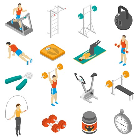 workout gym: Fitness physical activities supplements and exercises for men and women isometric icons collection abstract isolated vector illustration
