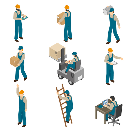Leveringsmens in eenvormig op het werk dragende dozen en de werkende van de de pictogrammeninzameling van vorkheftruck isometrische samenvatting geïsoleerde vectorillustratie Stock Illustratie