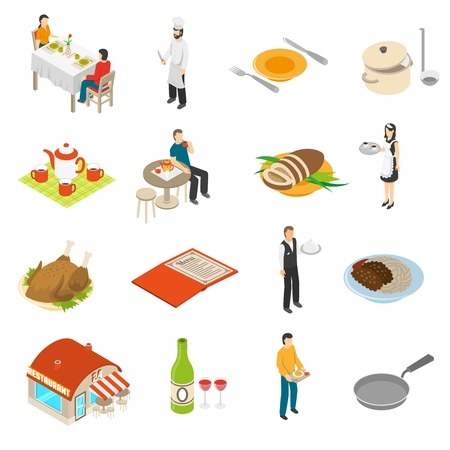 dinner date: Restaurant cafe bar isometric icons collection with chef waiter and waitress serving customers food isolated vector illustration