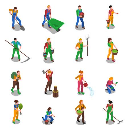Boeren op het werk met zeis vork hark en schop isometrische cijfers iconen geïsoleerde collectie abstracte illustratie