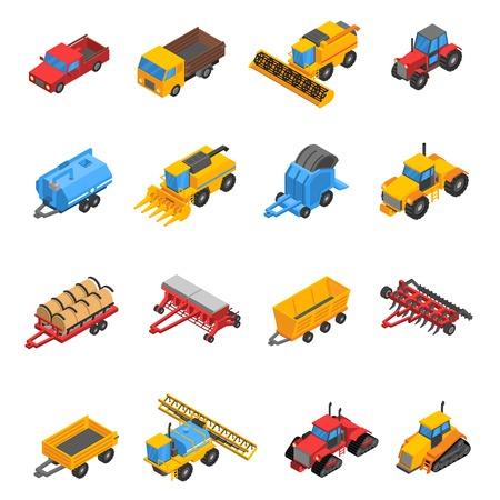 Isometrische set met decoratieve gekleurde geïsoleerde iconen van landbouwmachines en uitrusting vector illustratie