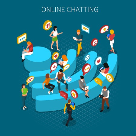 Communication isometric concept with bench shaped wifi emblem and people using internet around vector illustration