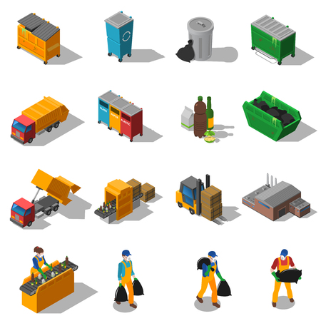 facilities: Garbage recycling and green waste collection services and facilities isometric icons collection abstract isolated shadow vector illustration Illustration