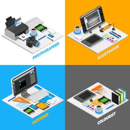 icono ordenador: concepto de diseño de los iconos isométricos gráficas establecidas con la ilustración vectorial fotografía símbolos aislados