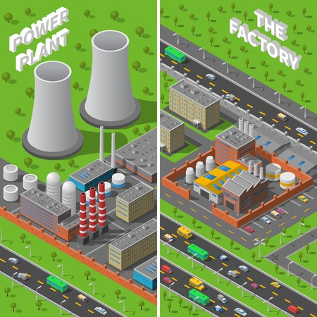 power plant: Industrial area 2 vertical isometric banners composition with factory and power plant wide chimneys abstract vector illustration