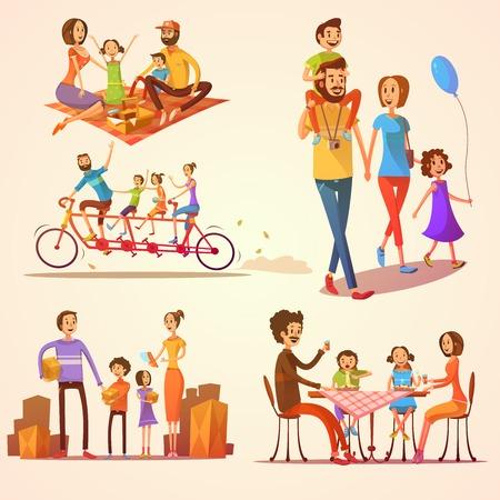 actividad: Familia de dibujos animados retro fijó con las vacaciones y actividades celebraciones aisladas ilustración vectorial