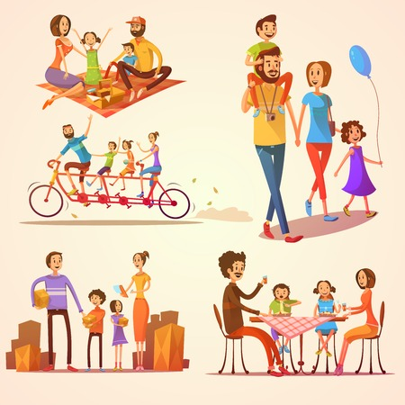 family activities: Family retro cartoon set with celebrations holidays and activities isolated vector illustration