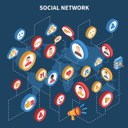 net: Social network isometric set with colored icons connected with dotted lines on the map background vector illustration