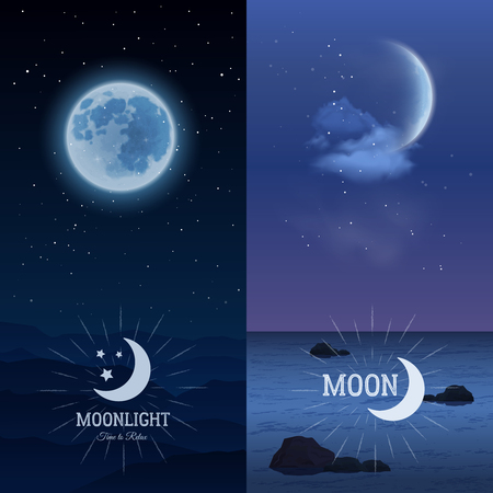 phase: Moonlight vertical banner set with moon on dark sky background isolated vector illustration