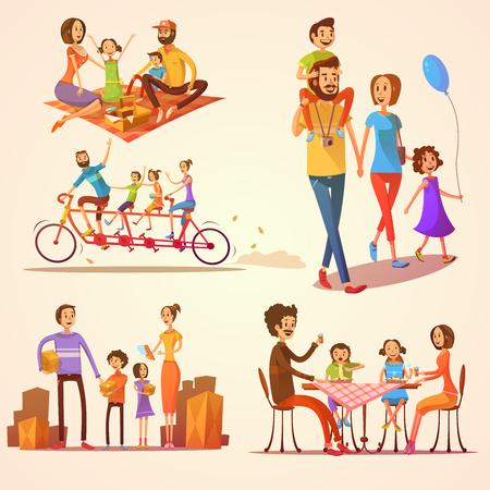 Familie retro Cartoon-Set mit Feiern Ferien und Aktivitäten Vektor-Illustration isoliert Vektorgrafik